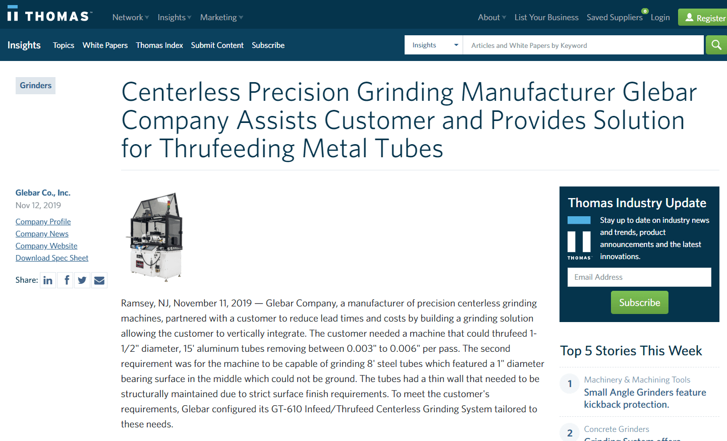 Centerless Precision Grinding Manufacturer Glebar Company Assists Customer and Provides Solution for Thrufeeding Metal Tubes